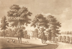 A view of Lady Diane Beauclerk's house in Twickenham Meadows